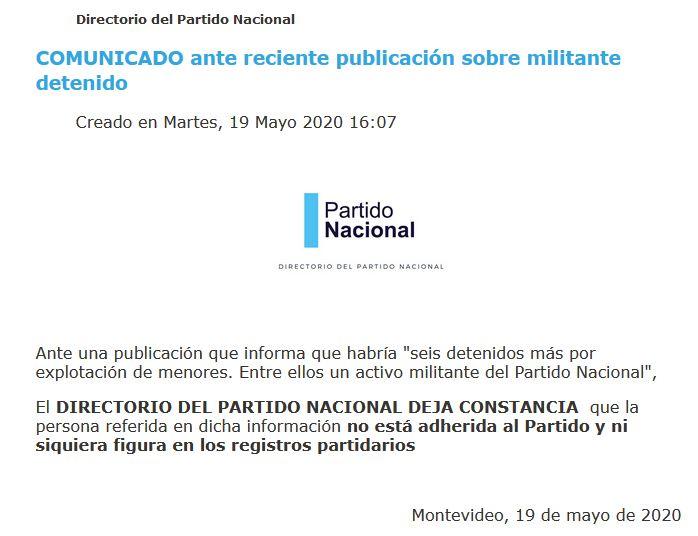 DIRECTORIO DEL PARTIDO NACIONAL DESVINCULA EXPLOTADOR SEXUAL