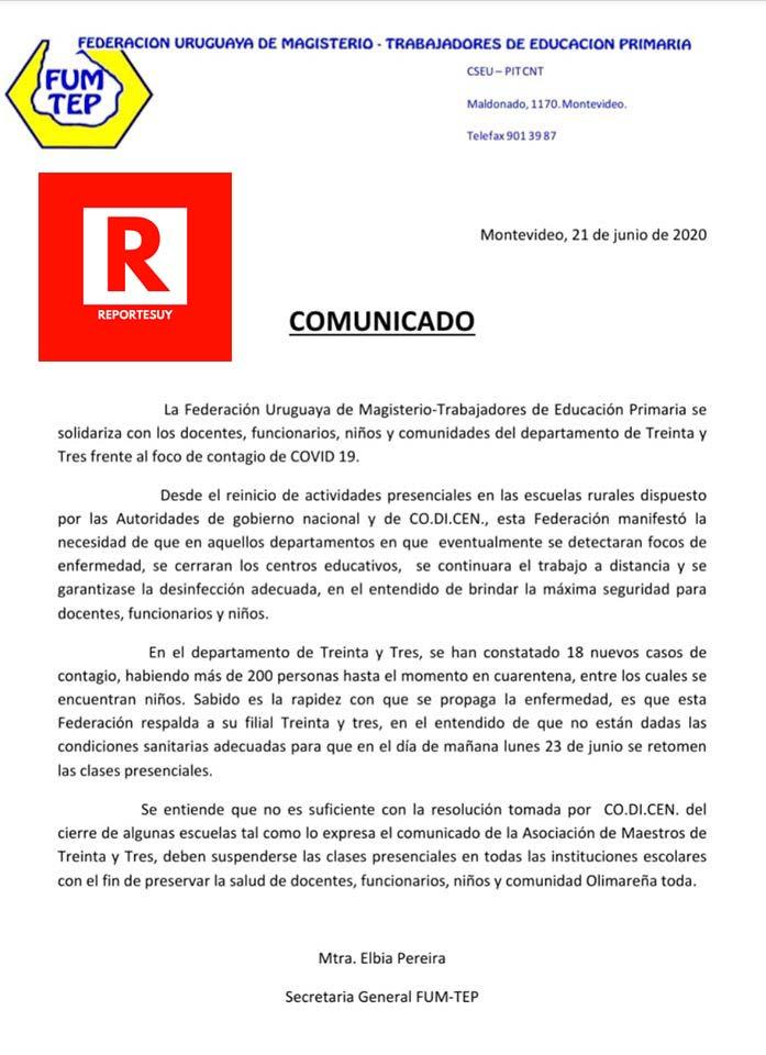 COMUNICADO FEDERACION URUGUAYA DE MAGSITERIO