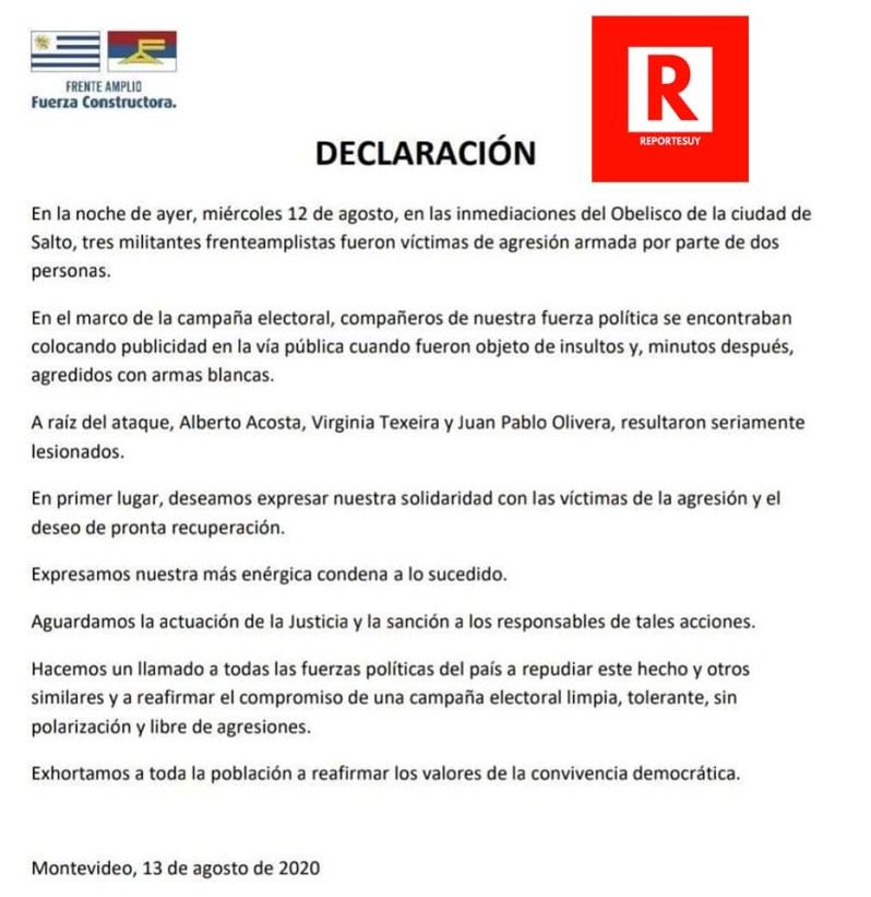 DECLARACION FRENTE AMPLIO SALTO